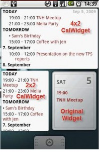 Calwidget screenshot, google android widget